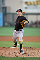 Bradenton Marauders starting pitcher James Marvel (12) delivers a pitch during the second game of a doubleheader against the Lakeland Flying Tigers on April 11, 2018 at Publix Field at Joker Marchant Stadium in Lakeland, Florida.  Bradenton defeated Lakeland 1-0.  (Mike Janes/Four Seam Images)