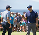 Tony Romo get knuckles from Joe Pavelski iafter winning the American Century Championship at Edgewood Tahoe Golf Course in Stateline, Nevada, Sunday, July 15, 2018.