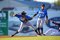 Hudson Valley Renegades shortstop Joseph Astacio (7) throws to first as Jhonny Santos (32) slides in and second baseman Miles Mastrobuoni (9) backs up the play during a game against the Batavia Muckdogs on August 2, 2016 at Dwyer Stadium in Batavia, New York.  Batavia defeated Hudson Valley 2-1.  (Mike Janes/Four Seam Images)