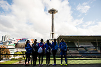 Seattle, Washington -  Saturday April 22, 2017: Fans during a regular season National Women's Soccer League (NWSL) match between the Seattle Reign FC and the Houston Dash at Memorial Stadium.