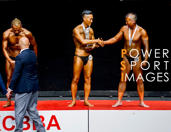 Winners of the Men's Master Bodybuilding (over 40 years old) category during the 2016 Hong Kong Bodybuilding Championships on 12 June 2016 at Queen Elizabeth Stadium, Hong Kong, China. Photo by Lucas Schifres / Power Sport Images