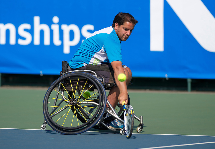 Asaf Stokol (ISR) in action during his defeat by Gordon Reid (GBR) in their Mens Singles Second round match today - Gordon Reid (GBR) def Asaf Stokol (ISR) 6-0 6-0<br /> <br /> Tennis - British Open Wheelchair Tennis Championships - Wednesday 17th July 2012 - Nottingham Tennis Centre - Nottingham<br /> <br /> &copy; Tennis Foundation/James Jordan - The National Tennis Centre - 100 Priory Lane - Roehampton - London - SW15 5JQ - Tel 020 8487 7304 - info@tennisfoundation.org.uk