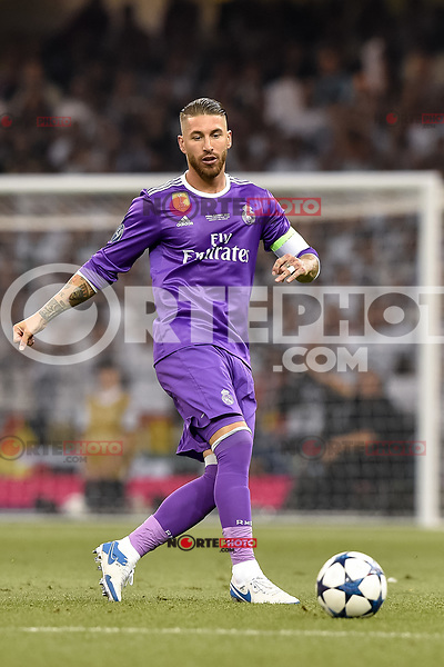 Sergio Ramos of Real Madrid during the UEFA Champions League Final match between Real Madrid and Juventus at the National Stadium of Wales, Cardiff, Wales on 3 June 2017. Photo by Giuseppe Maffia.<br /> <br /> Giuseppe Maffia/UK Sports Pics Ltd/Alterphotos /NortePhoto.com /nortephoto.com