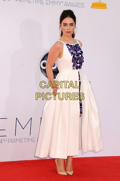 Emilia Clarke.The 64th Anual Primetime Emmy Awards - Arrivals, held at Nokia Theatre L.A. Live in Los Angeles, California, USA..September 23rd, 2012.emmys full length dress white purple print sleeveless skirt .CAP/ADM/BP.©Byron Purvis/AdMedia/Capital Pictures.