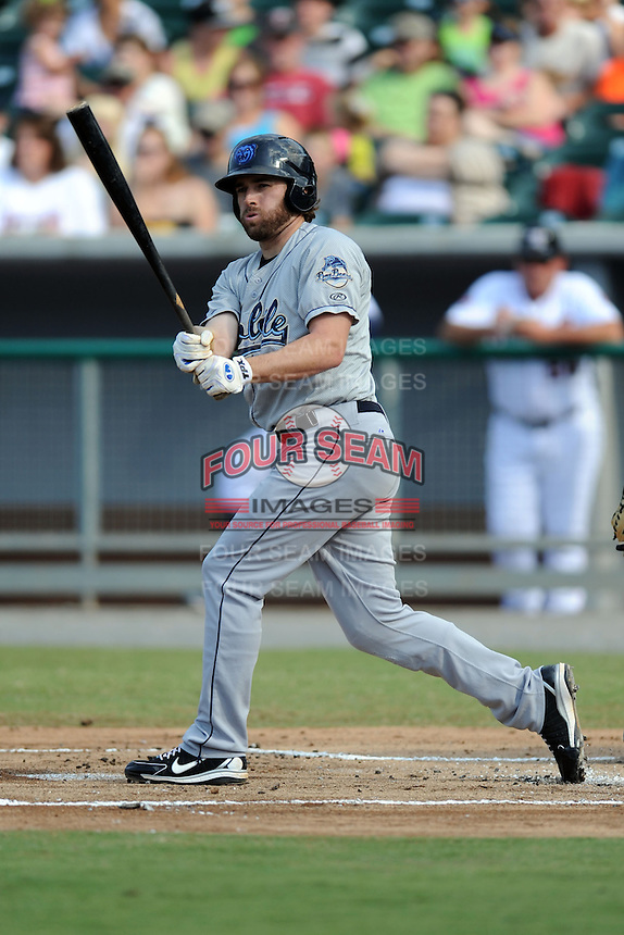 Mobile BayBears first baseman Nick Evens #18 swings at a pitch during a game against the Tennessee Smokies at Smokies Park on August 25, 2013 in Kodak, Tennessee. The BayBears won the game 2-0. (Tony Farlow/Four Seam Images)