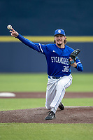 Indiana State Sycamores pitcher Austin Cross (36) delivers a pitch to the plate against the Michigan Wolverines on April 10, 2019 in the NCAA baseball game at Ray Fisher Stadium in Ann Arbor, Michigan. Michigan defeated Indiana State 6-4. (Andrew Woolley/Four Seam Images)