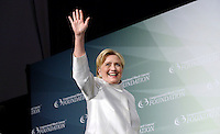 Former United States Secretary of State Hillary Clinton, the 2016 Democratic Party nominee for President of the United States, waves on stage a the Congressional Black Caucus Foundation's 46th Annual Legislative Conference Phoenix Awards Dinner, at the Washington Convention Center, September 17 2016, in Washington, DC. <br /> Credit: Olivier Douliery / Pool via CNP /MediaPunch /MediaPunch