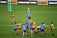 14th June 2020, Aukland, New Zealand;  Blues take the line out  at the Investec Super Rugby Aotearoa match, between the Blues and Hurricanes held at Eden Park, Auckland, New Zealand.