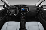 Stock photo of straight dashboard view of a 2018 Toyota Prius c One 5 Door Hatchback