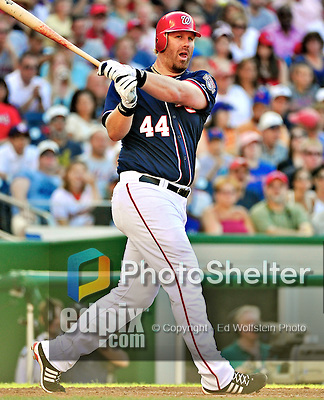 3 July 2010: Washington Nationals first baseman Adam Dunn in action against the New York Mets at Nationals Park in Washington, DC. The Nationals rallied in the bottom of the 9th to defeat the Mets 6-5 in the third game of their 4-game series. Mandatory Credit: Ed Wolfstein Photo