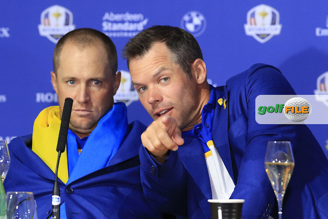 Alex Noran and Paul Casey (Team Europe) at the press conference after Europe win the Ryder Cup 17.5 to 10.5 at the end of Sunday's Singles Matches at the 2018 Ryder Cup 2018, Le Golf National, Ile-de-France, France. 30/09/2018.<br /> Picture Eoin Clarke / Golffile.ie<br /> <br /> All photo usage must carry mandatory copyright credit (© Golffile   Eoin Clarke)