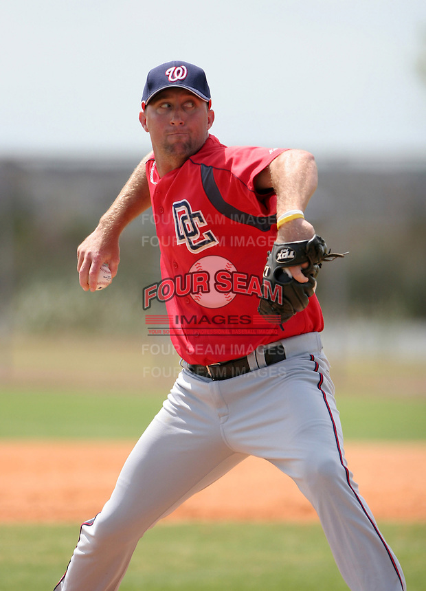 Washington Nationals minor leaguer Chris Thompson during Spring Training at the Carl Barger Training Complex on March 20, 2007 in Melbourne, Florida.  (Mike Janes/Four Seam Images)