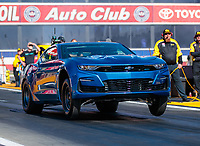 Feb 8, 2019; Pomona, CA, USA; NHRA electric powered COPO Chevrolet Camaro driver Patrick McCue during qualifying for the Winternationals at Auto Club Raceway at Pomona. Mandatory Credit: Mark J. Rebilas-USA TODAY Sports
