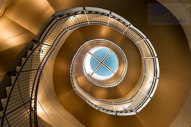 Jul. 13, 2015; Stairs in Mendoza College of Business. (Photo by Matt Cashore/University of Notre Dame)