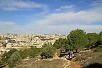 Israel, Lower Galilee, the Gospel Trail on Mount Precipice, Nazareth is in the background