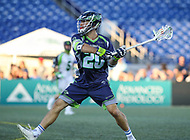 Annapolis, MD - July 7, 2018: Chesapeake Bayhawks Nick Manis (20) attempts a shot during the game between New York Lizards and Chesapeake Bayhawks at Navy-Marine Corps Memorial Stadium in Annapolis, MD.   (Photo by Elliott Brown/Media Images International)