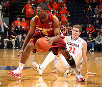 Dec. 30, 2010; Charlottesville, VA, USA; Iowa State Cyclones guard Darion 'Jake' Anderson (5) handles the ball in front of Virginia Cavaliers forward Will Sherrill (22) during the game at the John Paul Jones Arena. Mandatory Credit: Andrew Shurtleff