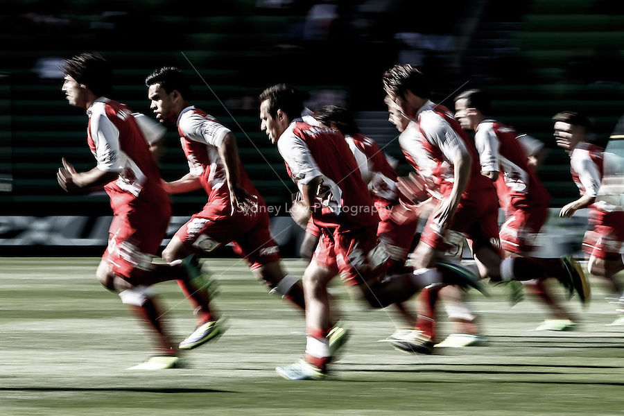 Melbourne Heart players warm up prior to the round two match between Melbourne Heart and the Central Coast Mariners in the Australian Hyundai A-League 2013-24 season at AAMI Park, Melbourne, Australia.<br /> This image is not for sale. Please visit zumapress.com for image licensing.