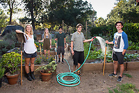 The staff of F.E.A.S.T., from left, Rachel Taylor '16, Events, Skye Harnsberger '17, VP of Club Affairs, Omar Quddusi '16, VP of Garden Management, Dylan Bruce '16, President and Keegan McChesney '16, Workshops.<br /> Photo from the F.E.A.S.T (Food Energy and Sustainability Team) student-run organic garden at UEPI, Oct. 1, 2015.<br /> (Photo by Marc Campos, Occidental College Photographer)