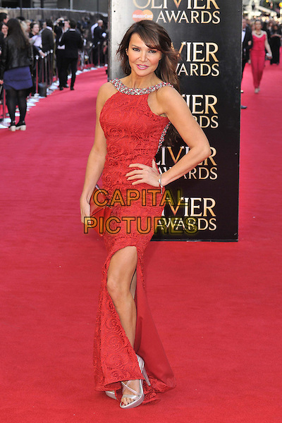 LONDON, ENGLAND - APRIL 13: Lizzie Cundy attends the Olivier Awards 2014, Royal Opera House, Covent Garden, on Sunday April 13, 2014 in London, England, UK.<br /> CAP/CAN<br /> &copy;Can Nguyen/Capital Pictures