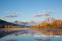 67545-09310 Sunrise at Oxbow Bend in fall; Grand Teton National Park; WY