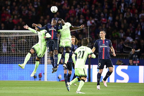 06.04.2016. Paris, France. UEFA CHampions League, quarter-final. Paris St Germain versus Manchester City.  Blaise Matuidi (PSG) against Fernando Francisco Reges and Bacary Sagna (Manchester City)