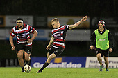 Baden Kerr kicks the match winning penalty from 49m out. Mitre 10 Cup rugby game between Counties Manukau Steelers and Auckland played at ECOLight Stadium, Pukekohe on Saturday August 19th 2017. Counties Manukau Stelers won the game 16 - 14 and retain the Dan Bryant Memorial trophy.<br /> Photo by Richard Spranger.