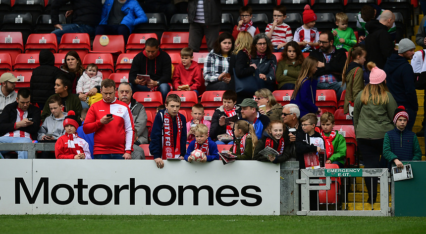 Lincoln City fans before kick off<br /> <br /> Photographer Chris Vaughan/CameraSport<br /> <br /> Vanarama National League - Lincoln City v Torquay United - Friday 14th April 2016  - Sincil Bank - Lincoln<br /> <br /> World Copyright &copy; 2017 CameraSport. All rights reserved. 43 Linden Ave. Countesthorpe. Leicester. England. LE8 5PG - Tel: +44 (0) 116 277 4147 - admin@camerasport.com - www.camerasport.com