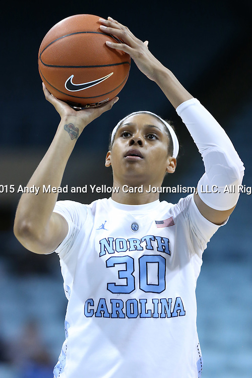 17 November 2015: North Carolina's Hillary Summers. The University of North Carolina Tar Heels hosted the Florida A&M University Rattlers at Carmichael Arena in Chapel Hill, North Carolina in a 2015-16 NCAA Division I Women's Basketball game. UNC won the game 94-58.