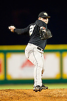 Relief pitcher Zach White #28 of the Wake Forest Demon Deacons in action against the LSU Tigers at Alex Box Stadium on February 18, 2011 in Baton Rouge, Louisiana.  The Tigers defeated the Demon Deacons 15-4.  Photo by Brian Westerholt / Four Seam Images