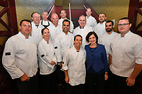 Melbourne, 30 May 2017 - The judges pose for a photograph with Trish Harty of Bocuse d'Or Australia at the Australian selection trials of the Bocuse d'Or culinary competition held during the Food Service Australia show at the Royal Exhibition Building in Melbourne, Australia. <br /> <br /> Mark Agius from the William Angliss Institute a judge of the fish plate<br /> Donovan Cooke from The Atlantic Restaurant a judge of the fish plate<br /> Alexander McIntosh from At The Heads a judge of the fish plate<br /> Andre Smaniotto from the Geelong Cats a judge of the fish plate<br /> Simon Cosentino former Commis competitor Bocuse d&rsquo;Or 2007-9 a judge of the meat plate<br /> Florent Gerardin from the Newmarket Hotel a judge of the meat plate<br /> Deepak Mishra from The Langham Hotel a judge of the meat plate<br /> Mark Weatherley from Les Toques Blanches a judge of the meat plate<br /> Karen Doyle from Le Cordon Bleu kitchen invigilator judge<br /> Glenn Flood from the ALH Group kitchen invigilator judge<br /> John McFadden from the Parkroyal Hotel Darling Harbour kitchen invigilator judge<br /> Head judge Philippe Mouchel from the Philippe Restaurant kitchen invigilator judge<br /> Tom Milligan of the Bocuse d'Or Academy AustraliaPhoto Sydney Low