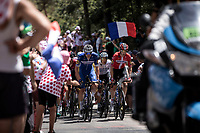 Kaspar Asgreen (DEN/Deceuninck Quick Step) and Danish National Champion Michael Morkov (DEN/Deceuninck Quick Step) leading the peloton up the Mur d'Aurec-sur-Loire (3.2km at 10.8%)<br /> <br /> Stage 9: Saint-Étienne to Brioude (170km)<br /> 106th Tour de France 2019 (2.UWT)<br /> <br /> ©kramon