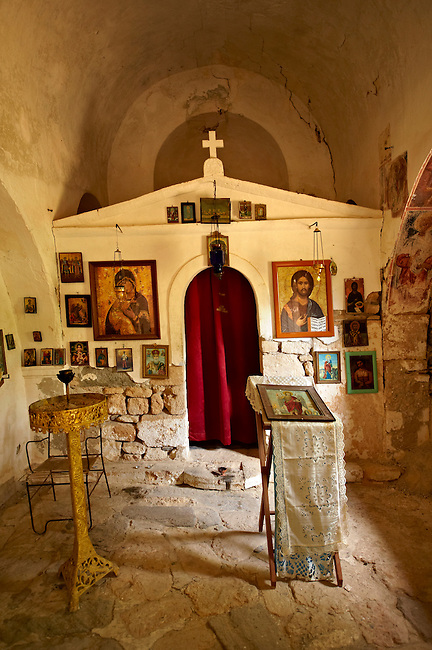 Interor of the Greek Orthodox chuch of Ayios Eletherios, Paliachora,  Aegina, Greek Saronic Islands