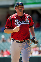 Hunter Morris (25) of the Nashville Sounds during the game against the Salt Lake Bees in Pacific Coast League action at Smith's Ballpark on June 22, 2014 in Salt Lake City, Utah.  (Stephen Smith/Four Seam Images)