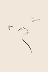 Artistic outline of a Cat looking at a dragonfly, artistic oriental Zen style artwork minimalistic illustration. Isolated brown design on beige background.