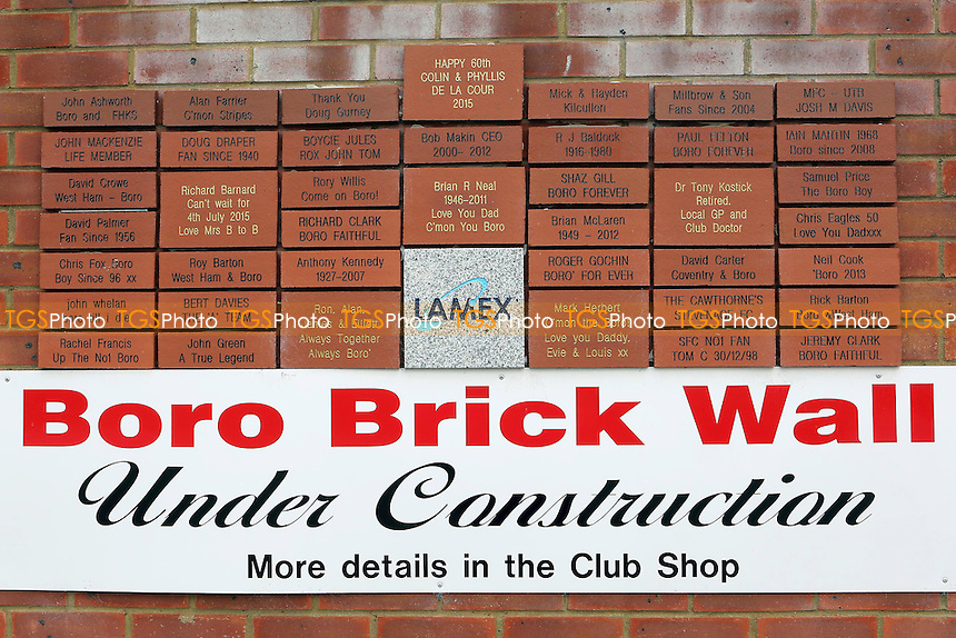 Boro Brick Wall Under Contruction during Stevenage vs Brighton and Hove Albion, Friendly Match Football at the Lamex Stadium on 23rd July 2016