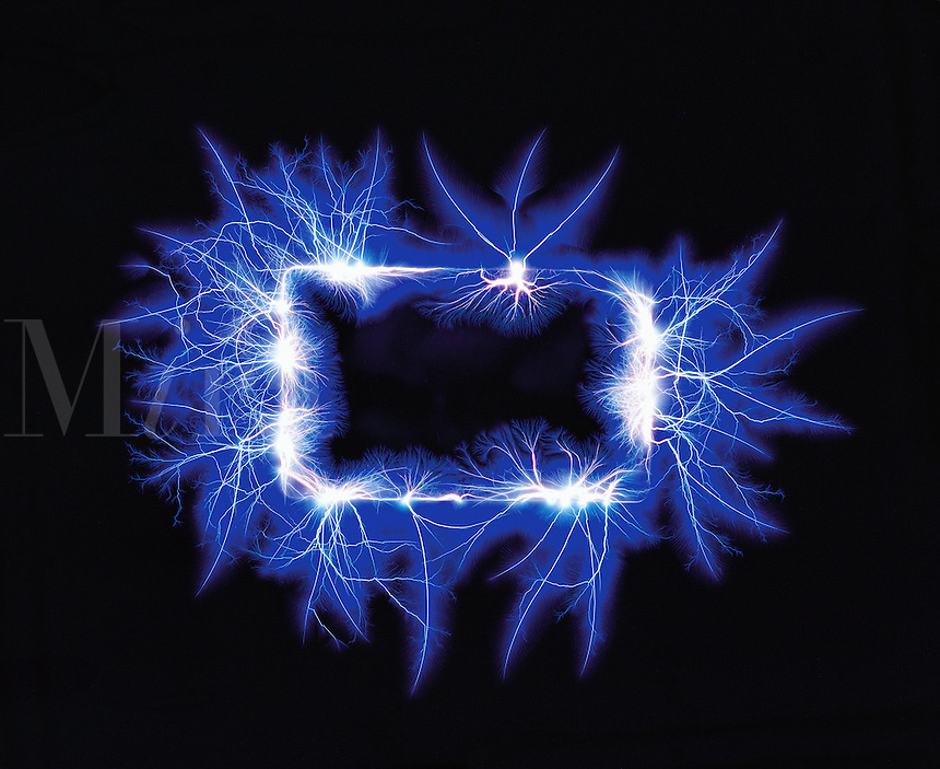 Graphic image - electric blue energy travels in a rectangular circuit..