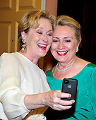 Meryl Streep takes a photo of herself with United States Secretary of State Hillary Rodham Clinton following a dinner honoring the seven 2012 recipients of the Kennedy Center honors at the U.S. Department of State in Washington, D.C. on Saturday, December 1, 2012.  The 2012 honorees are Buddy Guy, actor Dustin Hoffman, late-night host David Letterman, dancer Natalia Makarova, and the British rock band Led Zeppelin (Robert Plant, Jimmy Page, and John Paul Jones)..Credit: Ron Sachs / CNP