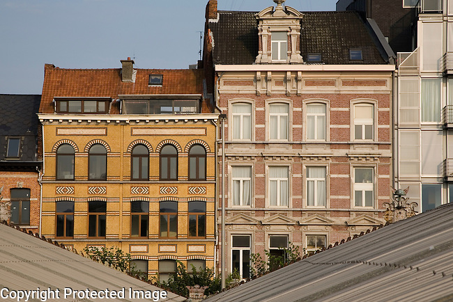 Typical Facades, Antwerp, Belgium, Europe