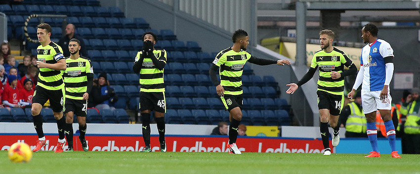 Huddersfield Town's Kasey Palmer celebrates scoring his sides first goal<br /> <br /> Photographer David Shipman/CameraSport<br /> <br /> The EFL Sky Bet Championship - Blackburn Rovers v Huddersfield Town - Saturday 3rd December 2016 - Ewood Park - Blackburn<br /> <br /> World Copyright &copy; 2016 CameraSport. All rights reserved. 43 Linden Ave. Countesthorpe. Leicester. England. LE8 5PG - Tel: +44 (0) 116 277 4147 - admin@camerasport.com - www.camerasport.com