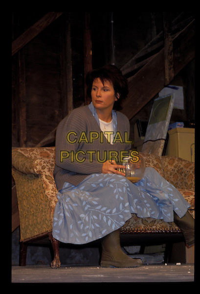 JENNIFER SAUNDERS.Ref:247.sitting, brown boots, blue dress, brown sweater, v-neck, stage, full length, full-length.RAW SCAN - PHOTO WILL BE ADJUSTED FOR PUBLICATION.www.capitalpictures.com.sales@capitalpictures.com.©Capital Pictures.