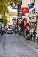 Philipsburg, Sint Maarten.  Front Street Street Scene.