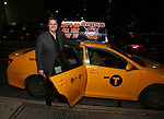 Nick Kohn taking the 'Avenue Q' - 15th Anniversary Performance Taxi Cab at New World Stages on July 31, 2018 in New York City.
