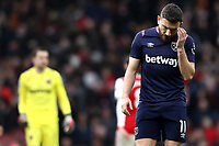 7th March 2020; Emirates Stadium, London, England; English Premier League Football, Arsenal versus West Ham United; A dejected Robert Snodgrass of West Ham United after the 1-0 loss