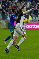 1st December 2019; Allianz Stadium, Turin, Italy; Serie A Football, Juventus versus Sassuolo; Cristiano Ronaldo of Juventus celebrates after scoring the equalizing goal from a penalty kick in the 68th minute - Editorial Use