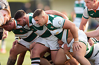 Matthew Beesley of Ealing Trailfinders prepares to scrummage against his opposite number. Greene King IPA Championship match, between Ealing Trailfinders and Nottingham on March 30, 2019 at the Trailfinders Sports Ground in London, England. Photo by: Patrick Khachfe / Onside Images