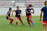 Boyds, MD - Sunday July 31, 2016: Estelle Johnson, Cheyna Williams during a regular season National Women's Soccer League (NWSL) match between the Washington Spirit and Sky Blue FC at Maureen Hendricks Field, Maryland SoccerPlex. The Washington Spirit defeated Sky Blue FC 3-1.