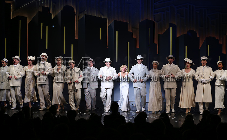 Michael McGrath, Mark Linn-Baker, Peter Gallagher, Kristin Chenoweth, Andy Karl, Mary Louise Wilson and the cast during the Opening Night Performance Curtain Call for 'On The 20th Century' at the American Airlines Theatre on March 12, 2015 in New York City.
