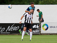 Dayle Southwell of Wycombe Wanderers wins the header from Sean Marks of Maidenhead United during the Friendly match between Maidenhead United and Wycombe Wanderers at York Road, Maidenhead, England on 30 July 2016. Photo by Alan  Stanford PRiME Media Images.