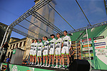 Team Fortuneo-Samsic at sign on before the start of the 112th edition of Il Lombardia 2018, the final monument of the season running 241km from Bergamo to Como, Lombardy, Italy. 13th October 2018.<br /> Picture: Eoin Clarke | Cyclefile<br /> <br /> <br /> All photos usage must carry mandatory copyright credit (© Cyclefile | Eoin Clarke)